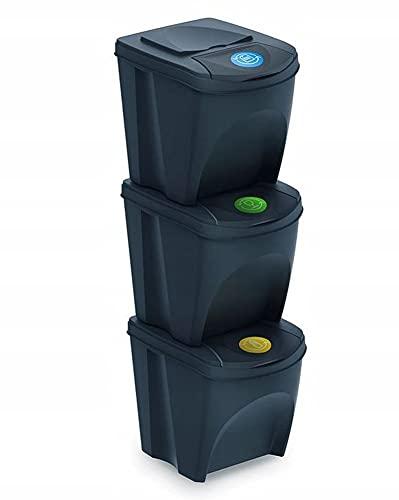 Mülleimer Abfalleimer Mülltrennsystem 75L - 3x25L Behälter Sorti Box...
