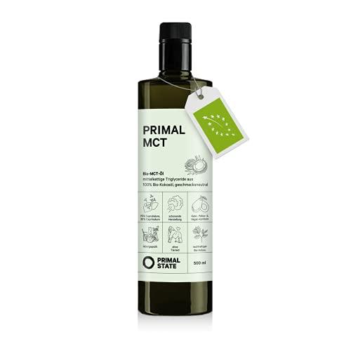 Primal State® Bio MCT Öl [500ml] | inkl. Ausgießer in Glasflasche | 70%...