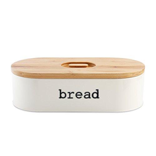 SveBake Brotkasten - Metall Brotbox mit Einfacher Griff Bambus Deckel,...
