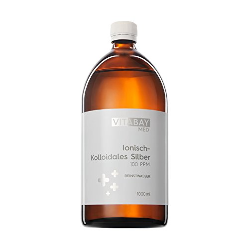 Vitabay Kolloidales Silber 100 PPM • 1000 ml • Hochdosiert •...