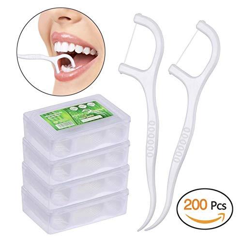 Dental Floss, KWOKWEI 200 Stück Zahnseide/Zahnstocher Stick mit...