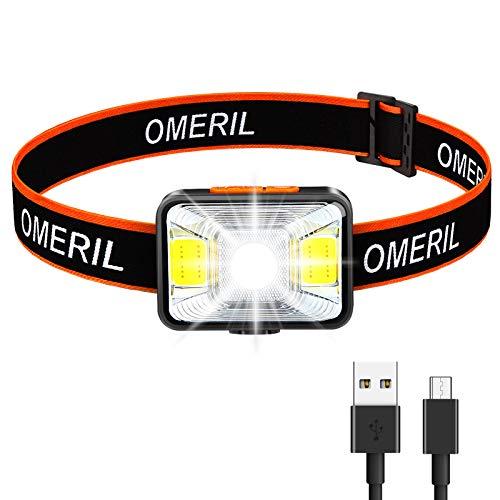 OMERIL Stirnlampe LED Wiederaufladbar USB Kopflampe Stirnlampe Kinder, Sehr...