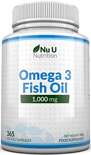 Omega 3 Fischöl 1000mg - 365 Softgelkapseln - Bis zu 12 Monate Vorrat -...