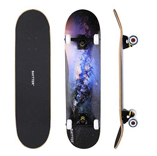 BAYTTER® Skateboard Komplett Board Funboard 79x20cm mit 7-lagigem...