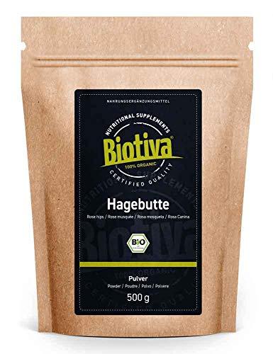 Hagebuttenpulver Bio, 500g - EU Ernte - Rohkostqualität - aus ganzen...