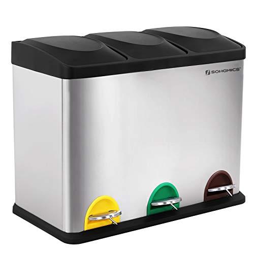SONGMICS Mülleimer für die Küche, Abfallbehälter, 45 Liter, Abfalleimer...