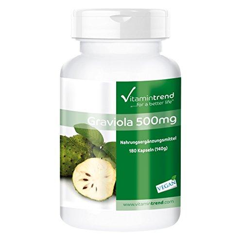 Graviola 500mg - 180 vegane Kapseln - aus Graviola-Frucht (Stachelannone,...