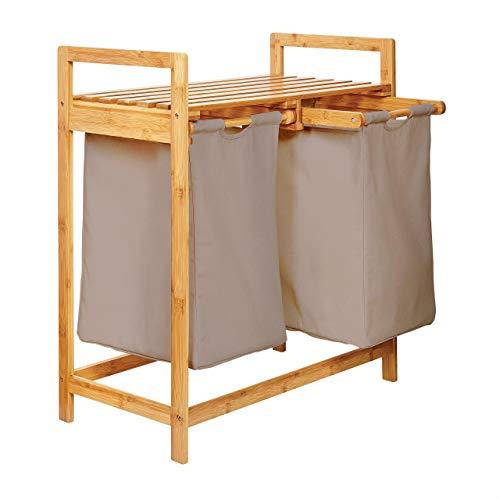 Lumaland Wäschekorb aus Bambus, mit 2 ausziehbaren Wäschesäcken, ca. 73...