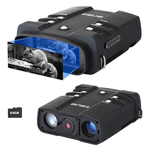 ESSLNB Nachtsichtgerät 10,8X Vergrößerung 1080P mit 64GB Karte und 8 AA...