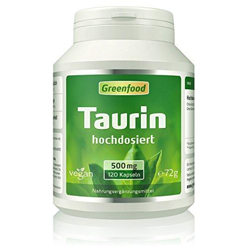 Taurin, 500 mg, hochdosiert, 120 Kapseln, vegan – natürlicher...