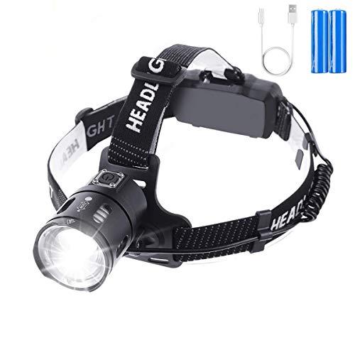 OUTERDO Stirnlampe LED, Kopflampe Zoom 3500 Lumen Ultrahohe Helligkeit mit...