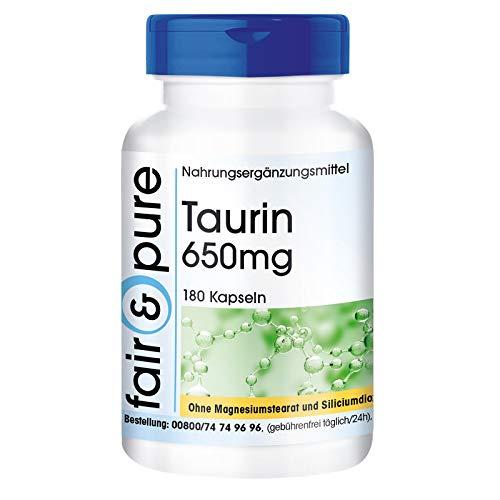 Taurin Kapseln 650mg - vegan - ohne Magnesiumstearat - 180 Kapseln