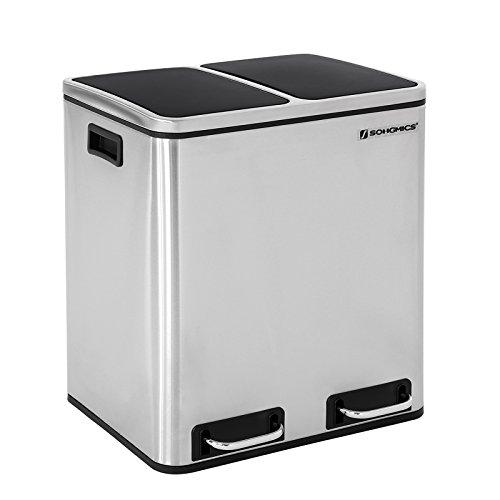 SONGMICS Mülleimer für die Küche, 30 L, Abfalleimer aus Metall,...