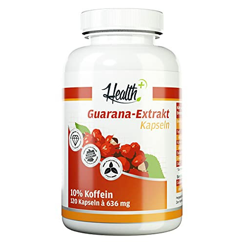 Health+ Guarana-Extrakt - 120 Kapseln, hochwertiger Extrakt mit 10%...
