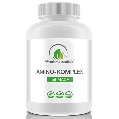 Amino-Komplex + Maca, 300 Tabletten á 1000mg (Vegan), Alle 18 Aminosäuren...
