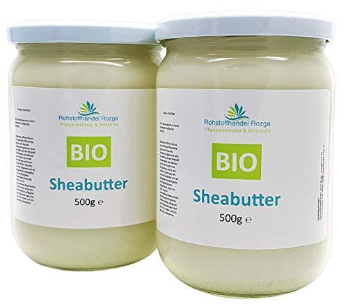 Sheabutter BIO 1 kg (2x 500 g Glas!) Shea Butter 100% rein Top Qualität...