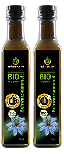 Kräuterland - Bio Schwarzkümmelöl gefiltert 2x250ml- 100% rein, schonend...