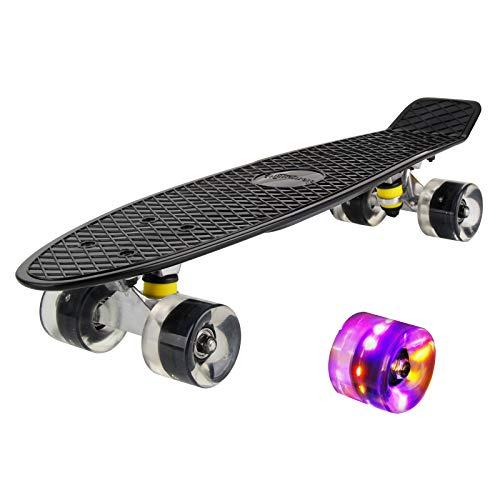 hausmelo Skateboard Mini Cruiser Retro Board Komplettboard für Anfänger...