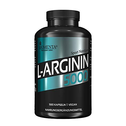 BIOMENTA L-Arginin 5000 – Premiumqualität – 500 vegane Arginin Kapseln...