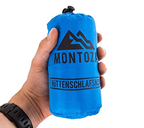 montoza Hüttenschlafsack - Ultraleicht 170g blau - Inlett aus Seide und...