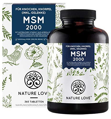 NATURE LOVE® MSM 2000mg mit Vitamin C - 365 laborgeprüfte Tabletten -...