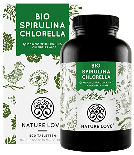 NATURE LOVE® Bio Spirulina + Bio Chlorella mit 500 mg pro Pressling. 500...