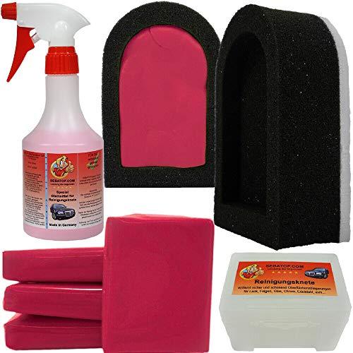 Reinigungsknete Set 200g Rot (stark) mit Halter + 500ml Gleitmittel...
