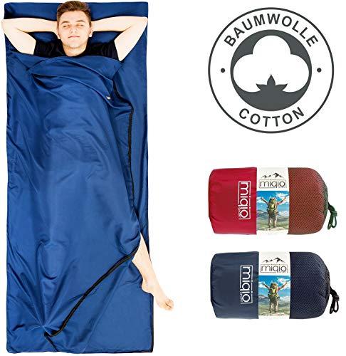 Miqio® 2in1 Baumwoll-Hüttenschlafsack mit durchgängigem Reißverschluss...
