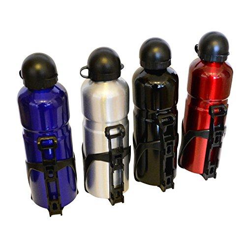 all-around24 Alu Trinkflasche Rot mit Fahrradhalterung Sport Wasserflasche...