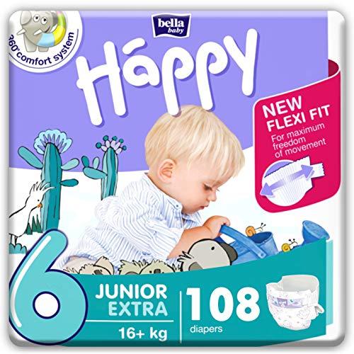 bella baby Happy Windeln Größe 6 Junior Extra 16+ kg, 1er Pack (1 x 108...
