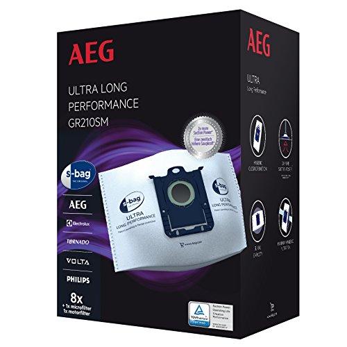 AEG GR210SM s-bag Ultra Long Performance Staubsaugerbeutel MegaPack (8 XXL...