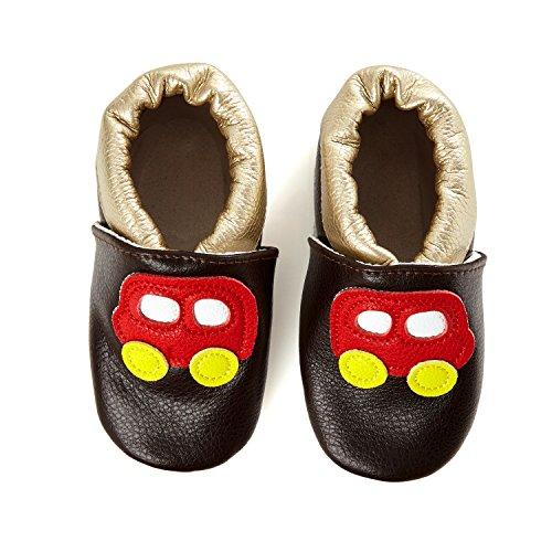 SmileBaby Premium Leder Lauflernschuhe mit rutschfester Sohle für Jungen...