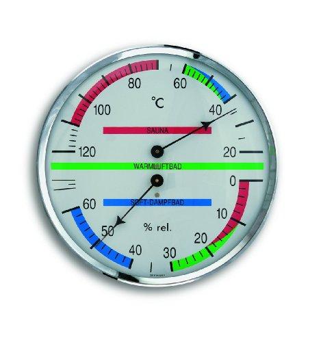 TFA Dostmann Analoges Sauna-Thermo-Hygrometer, mit Metallring, Temperatur,...