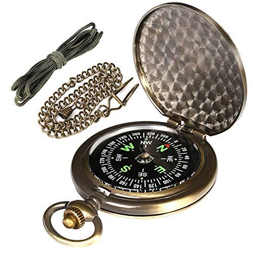 AYOUYA Kompass Outdoor Messing Taschenkompass mit Kette und Halsband,...