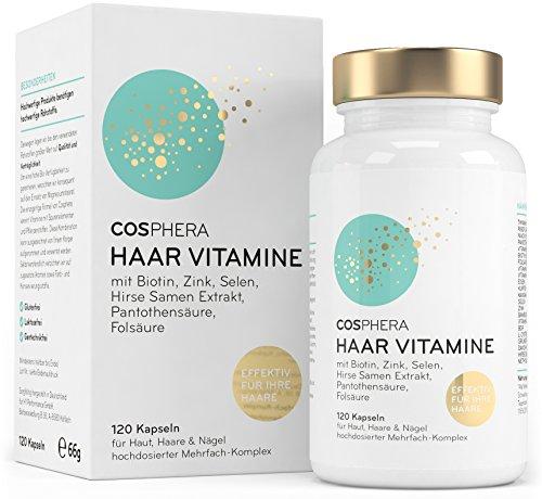 Cosphera Haar-Vitamine - Hochdosiert mit Biotin, Selen, Zink, Folsäure,...