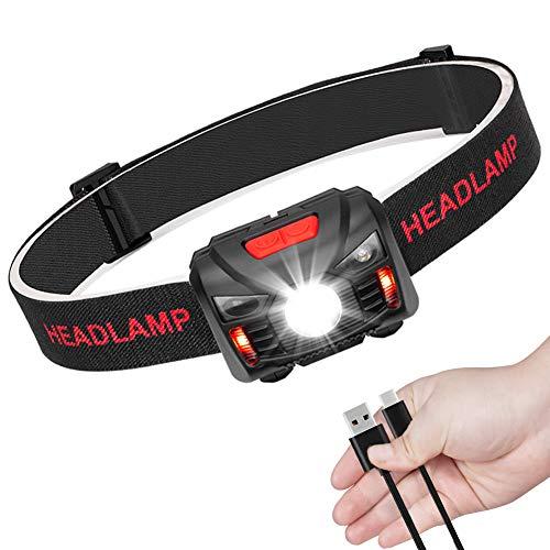 LED Stirnlampe Kopflampe USB Wiederaufladbare Mini stirnlampen Wasserdicht...