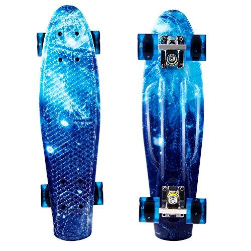 WeSkate 22zoll/55cm Mini Cruiser Skateboard mit LED Leuchtrollen für für...