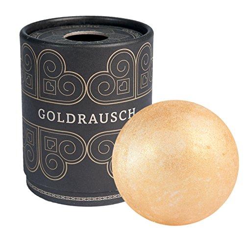 Deluxe Badebombe Goldrausch, 180 Gramm schwere XXL Badekugel mit pflegender...