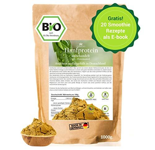 BIO Hanfprotein 1kg aus Deutschland + Gratis Smoothie E-Book (PDF), Vegan...