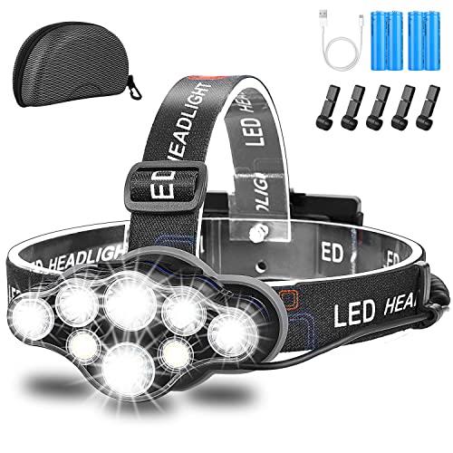 Stirnlampe,Superheller USB Wiederaufladbare Kopflampe,18000 Lumen 8 LED 8...