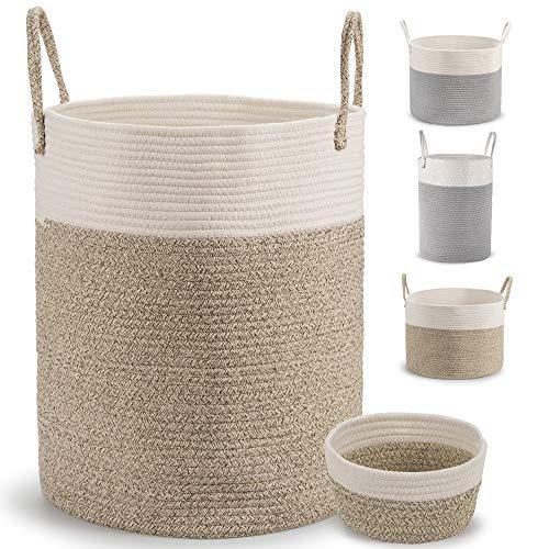 Deco haus Wäschekorb aus Baumwolle 46x38cm - Für Aufbewahrung von...