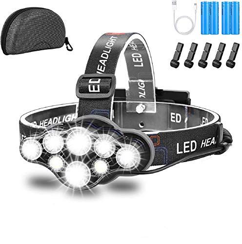 Stirnlampe Led Wiederaufladbar,Led Stirnlampe 18000 Lumen Superheller 8 LED...