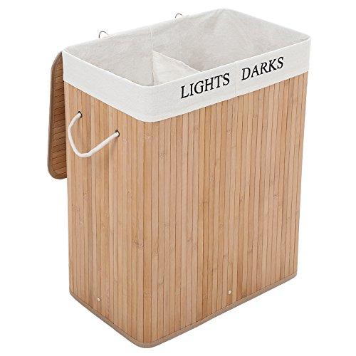 SONGMICS Wäschekorb aus Bambus, 100 L Wäschesortierer mit 2 Fächern,...