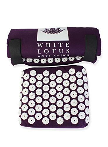 White Lotus Akupressurmatte mit Kissen bei Nacken- oder Rückenschmerzen...
