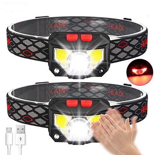 Avaspot Stirnlampe 2 Stück, 800 Lumens Super hell USB Wiederaufladbare LED...