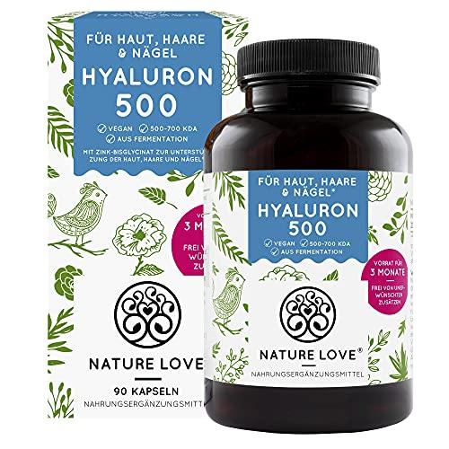 NATURE LOVE® Hyaluronsäure Kapseln mit Zink - Hochdosiert: 500mg - Vegan...