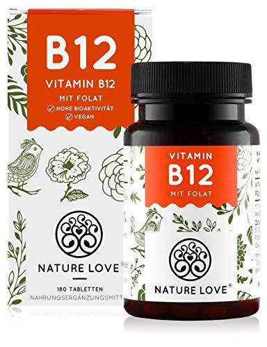 NATURE LOVE® Vitamin B12 Vegan - 180 Tabletten. Beide aktive Formen...