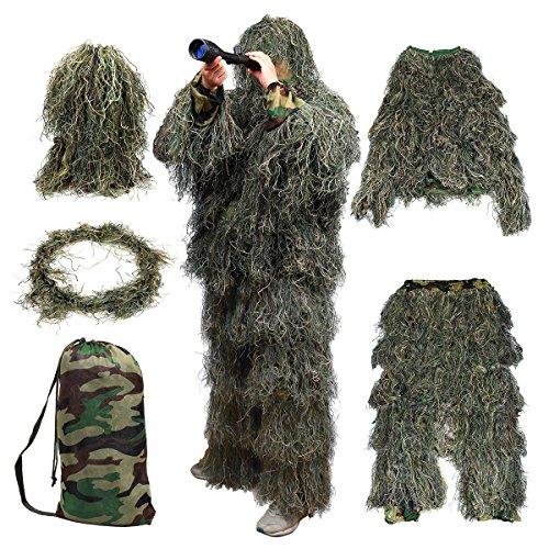 Goetland 5-teilige 3D Ghillie Tarnanzug Ghillie Suit Wald für Jagd...